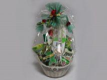 Darčekový kôš - Zelená stuha, červený púčik