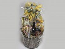 Darčekový kôš - Zlatá stuha, orchidea šedá